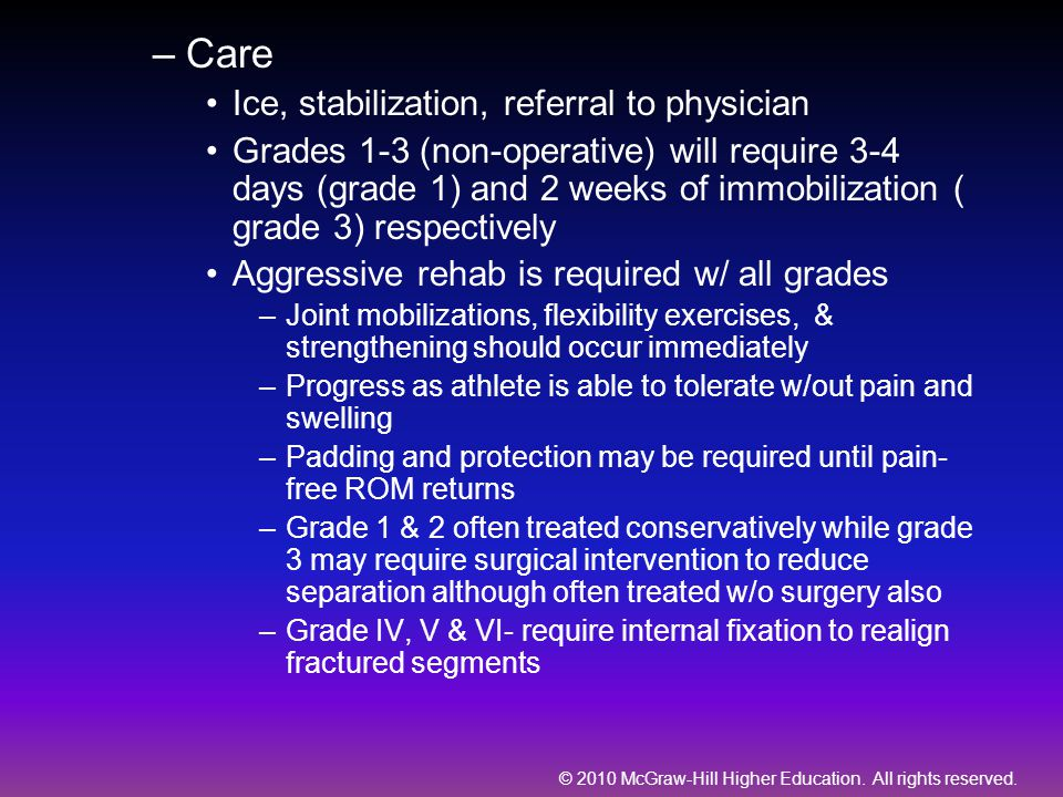 Care Ice, stabilization, referral to physician