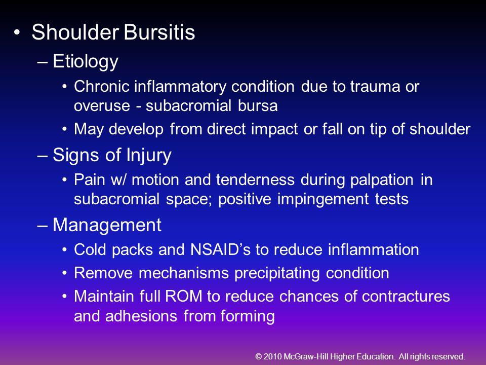 Shoulder Bursitis Etiology Signs of Injury Management