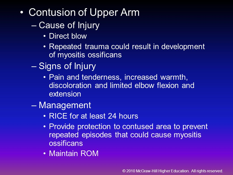 Contusion of Upper Arm Cause of Injury Signs of Injury Management