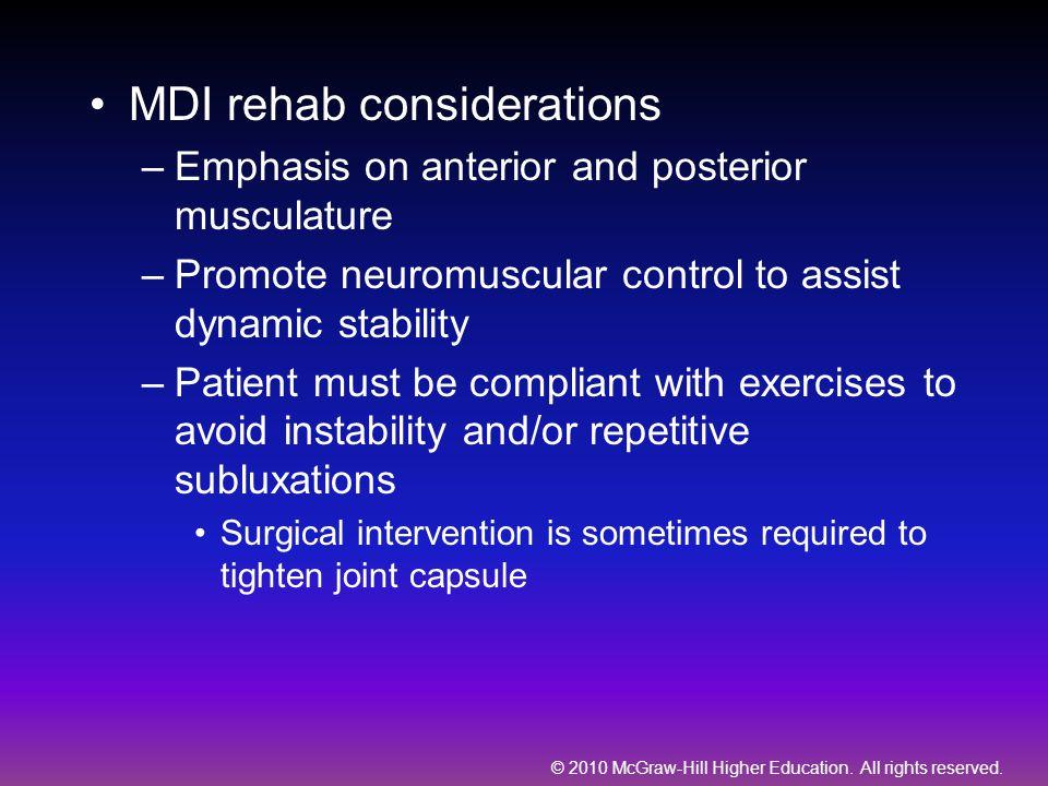 MDI rehab considerations