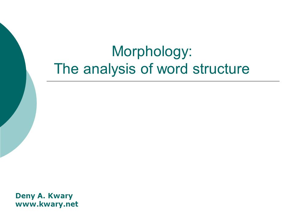 Morphology: The analysis of word structure