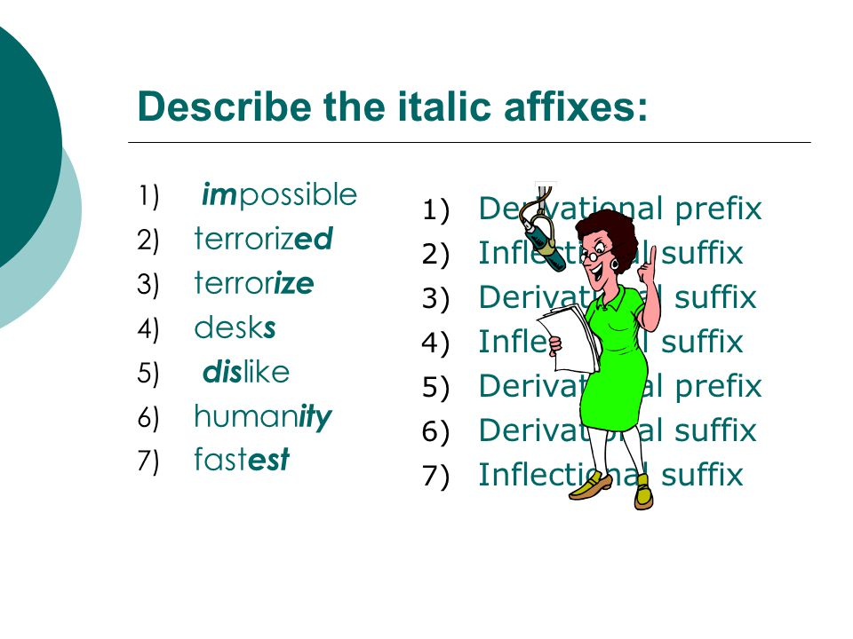 Describe the italic affixes: