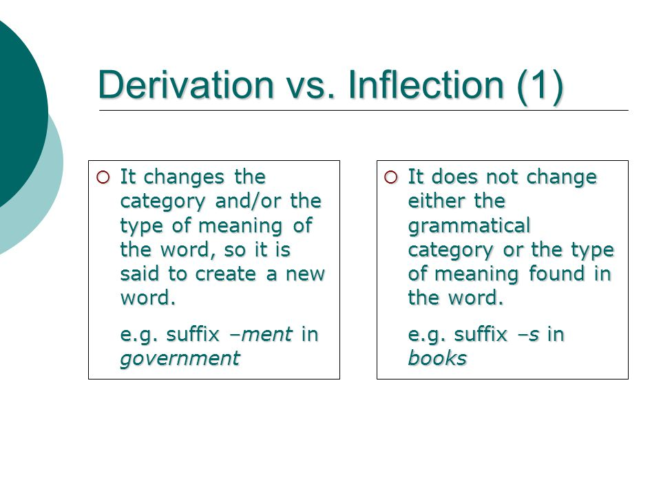 Derivation vs. Inflection (1)