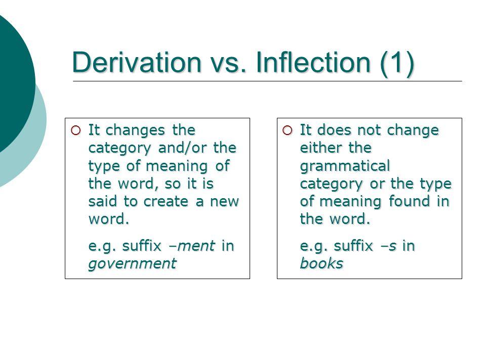 Derivation vs. Inflection (1)
