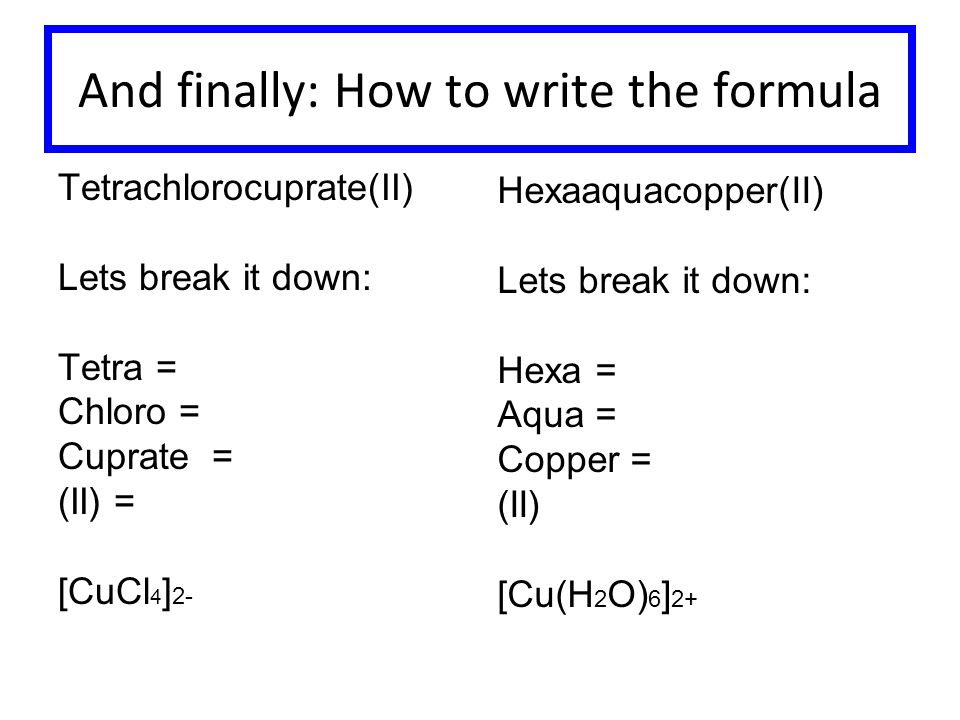 And finally: How to write the formula