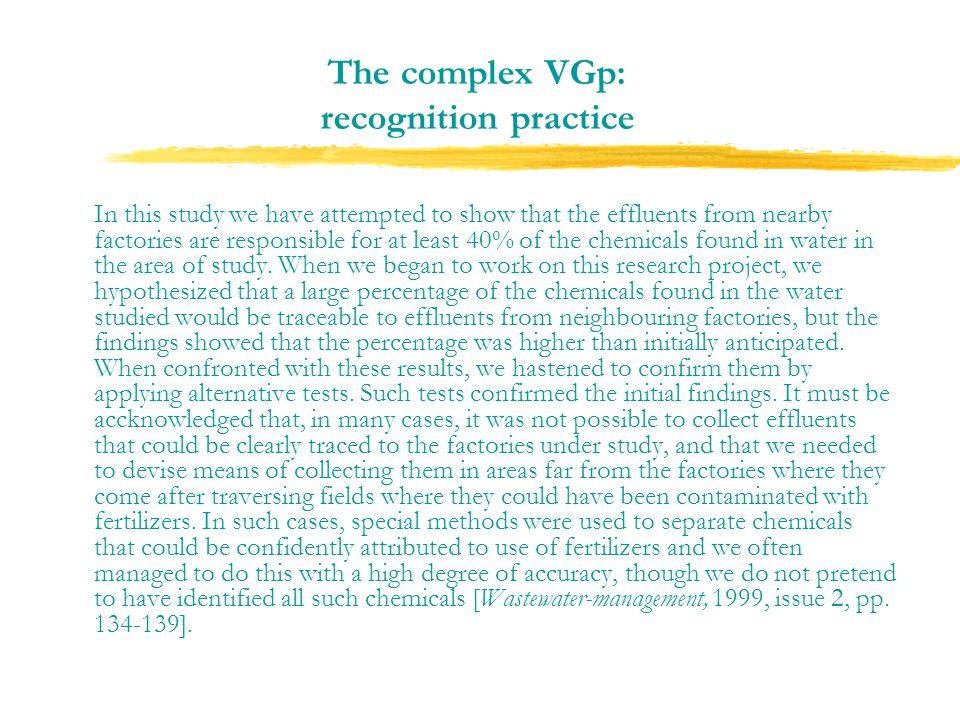 The complex VGp: recognition practice