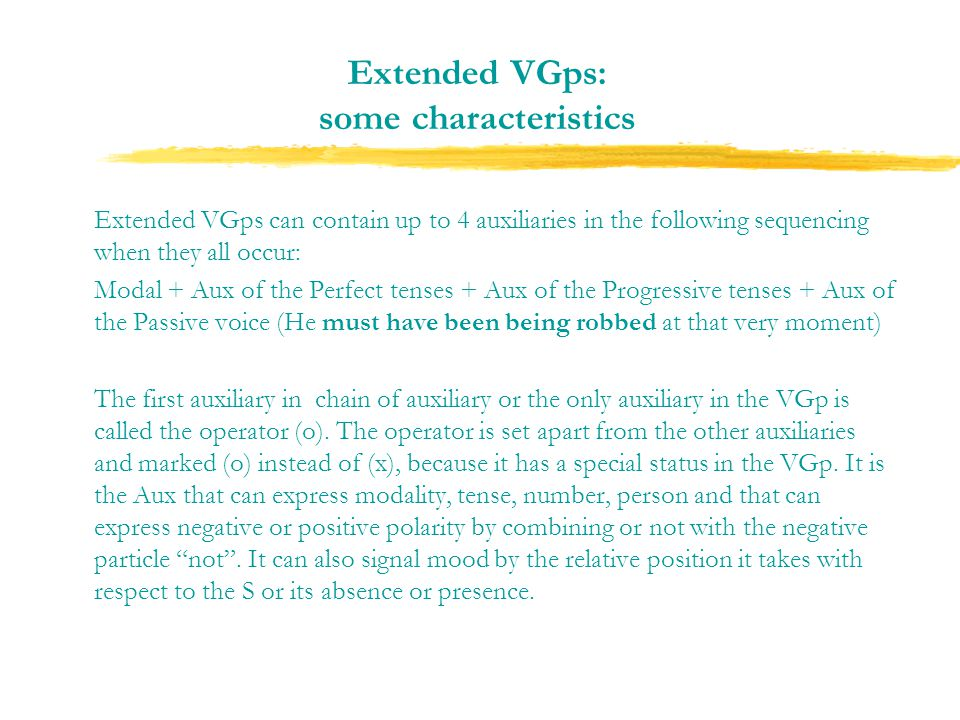 Extended VGps: some characteristics