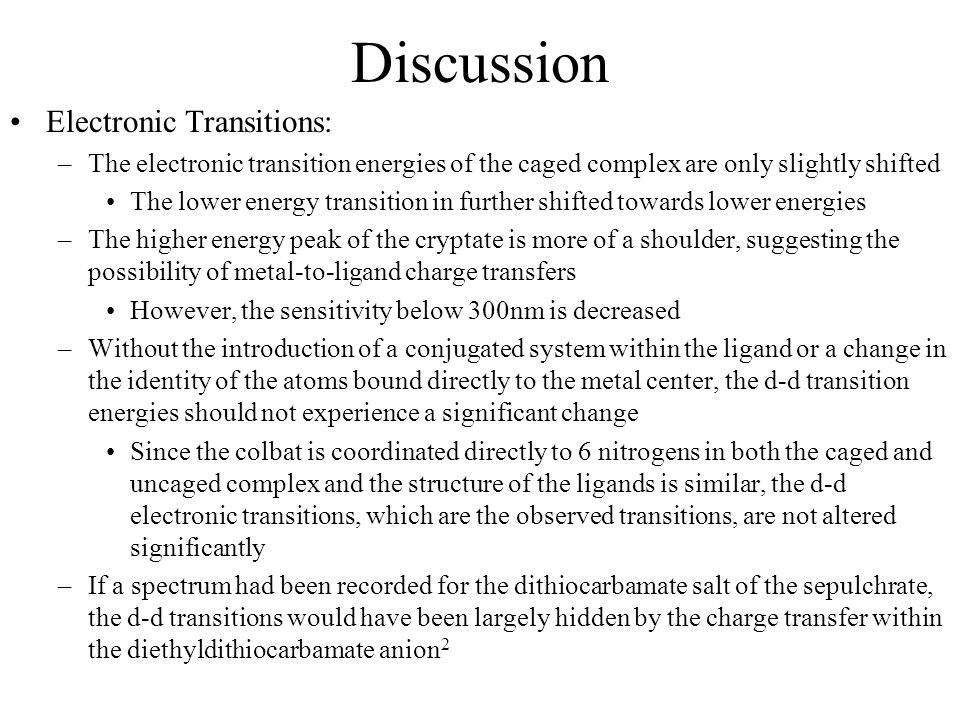 Discussion Electronic Transitions: