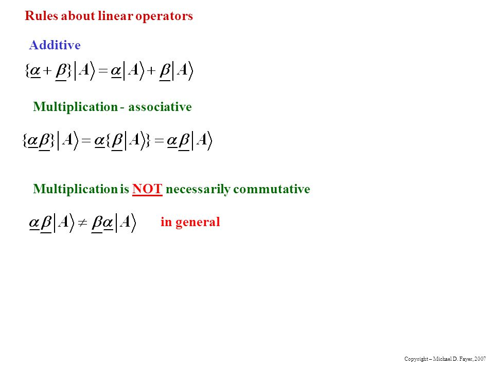 Rules about linear operators