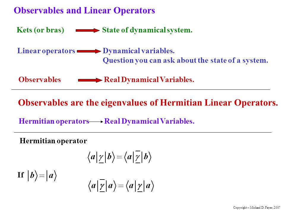 Observables and Linear Operators