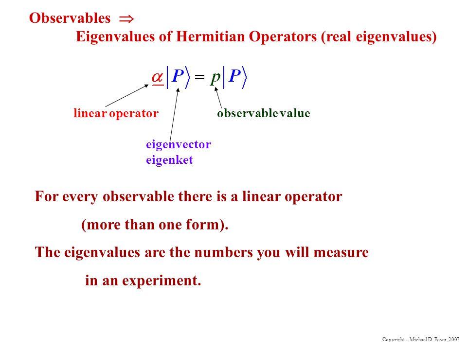 Observables  Eigenvalues of Hermitian Operators (real eigenvalues)