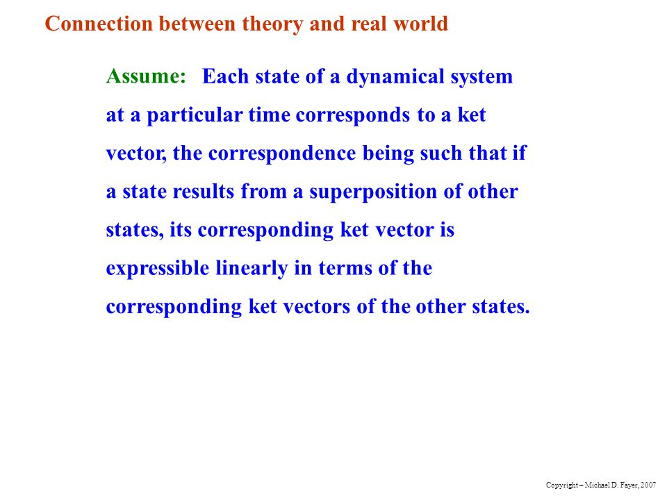 Connection between theory and real world