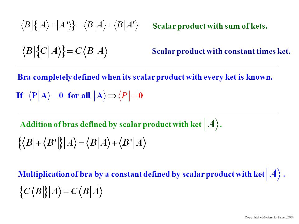 Scalar product with sum of kets.