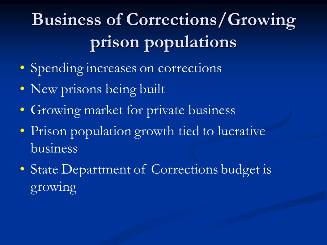 Business of Corrections/Growing prison populations