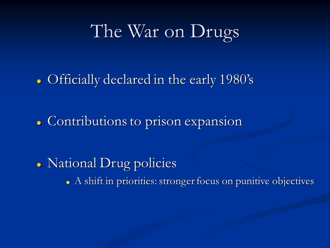 The War on Drugs Officially declared in the early 1980's