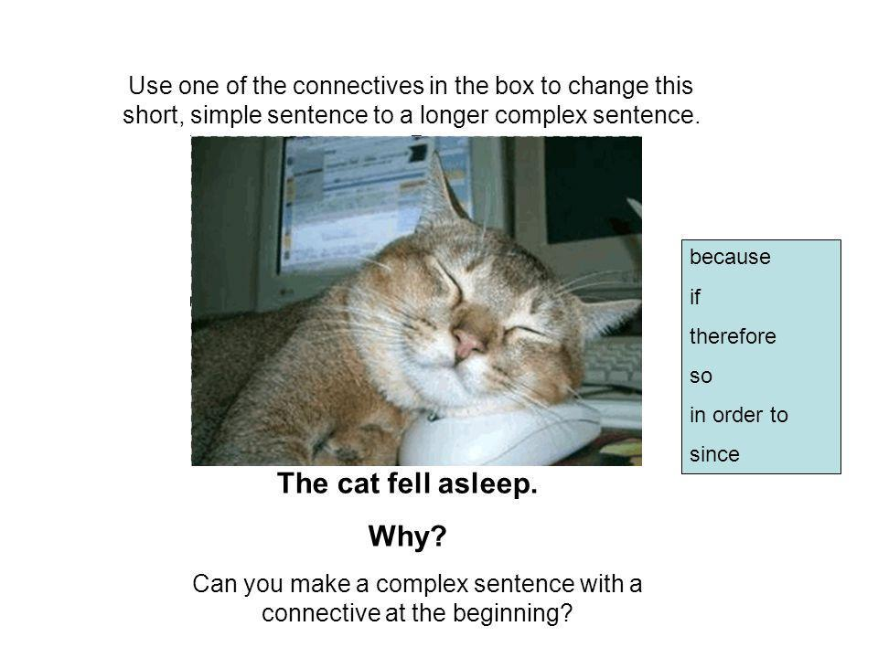 Can you make a complex sentence with a connective at the beginning