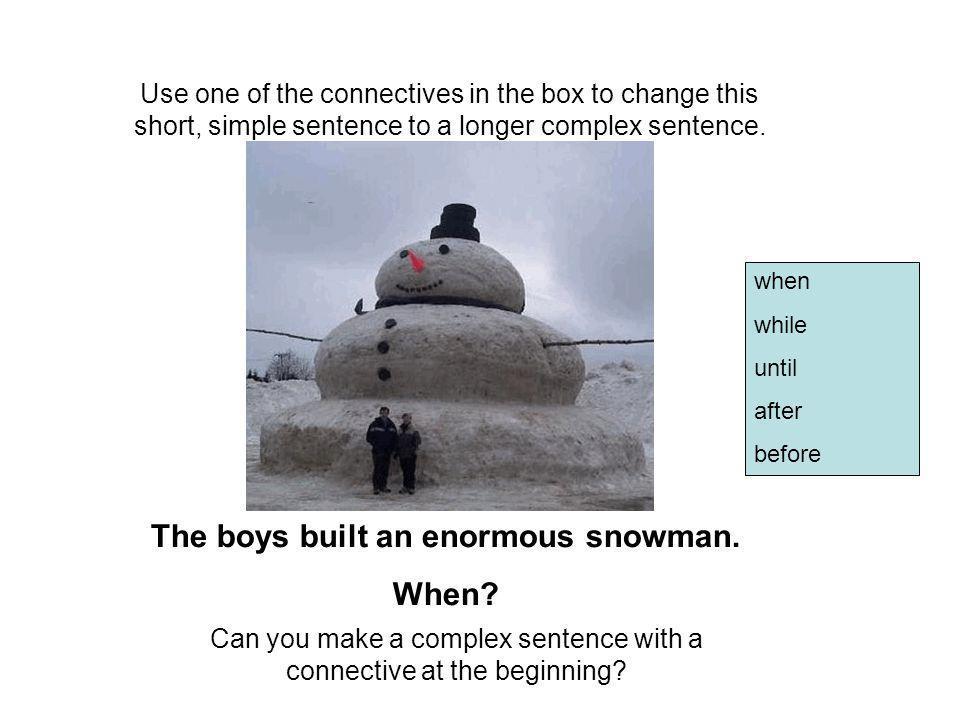 The boys built an enormous snowman.