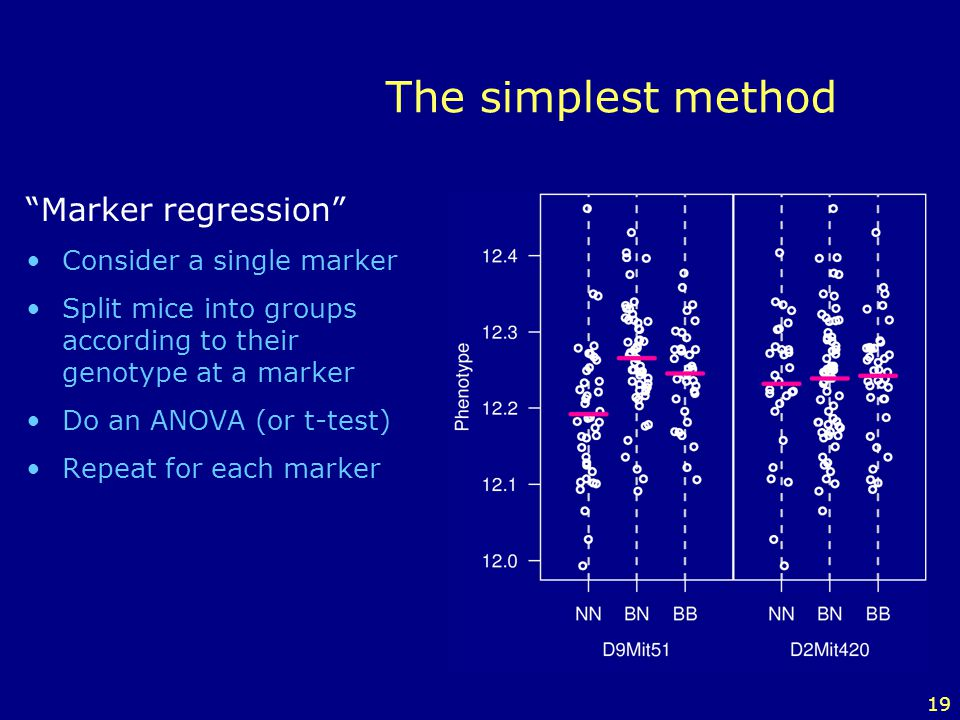 The simplest method Marker regression Consider a single marker