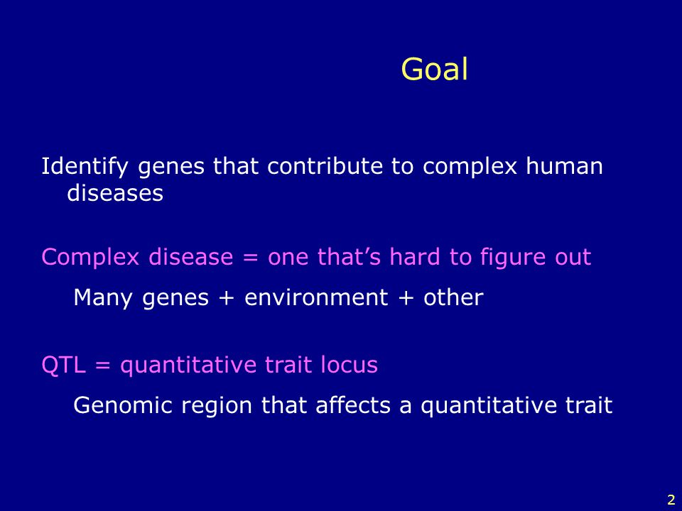 Goal Identify genes that contribute to complex human diseases