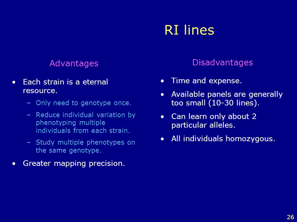 RI lines Advantages Disadvantages Each strain is a eternal resource.