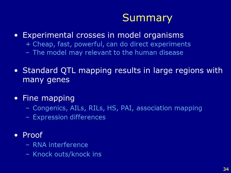 Summary Experimental crosses in model organisms