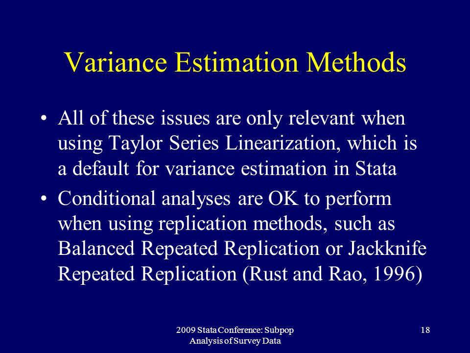 Variance Estimation Methods