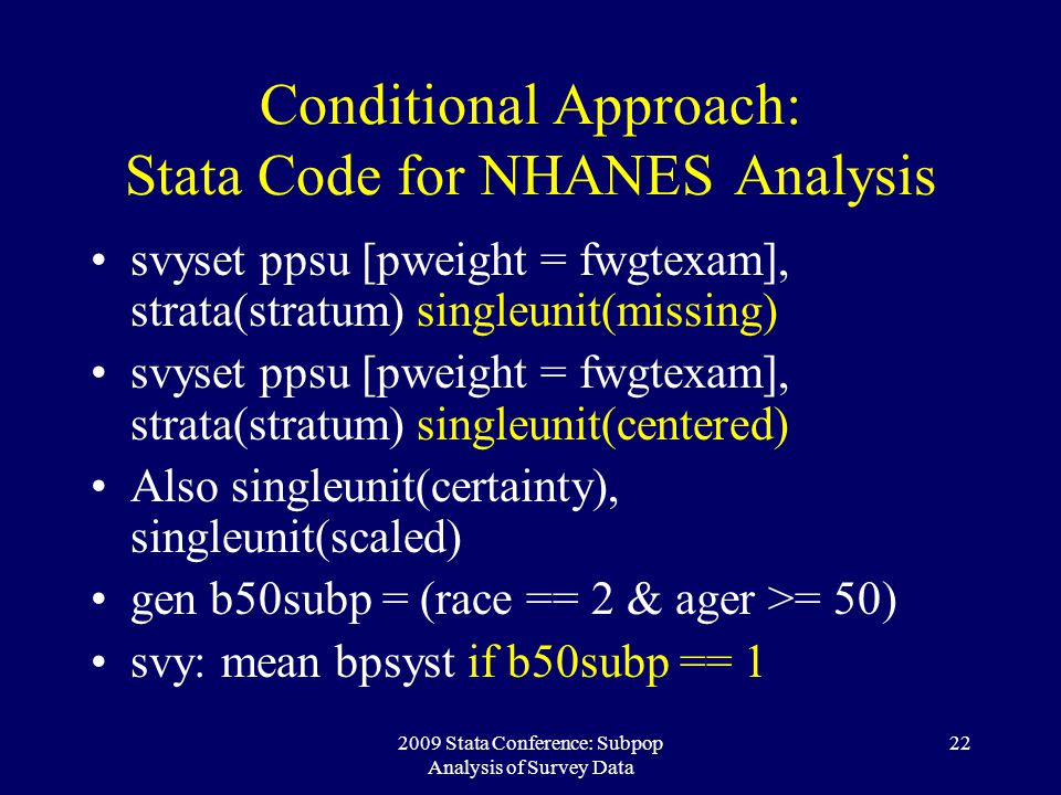 Conditional Approach: Stata Code for NHANES Analysis