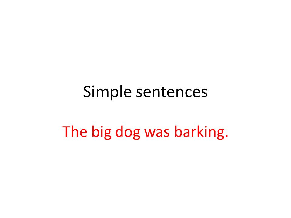 Simple sentences The big dog was barking.