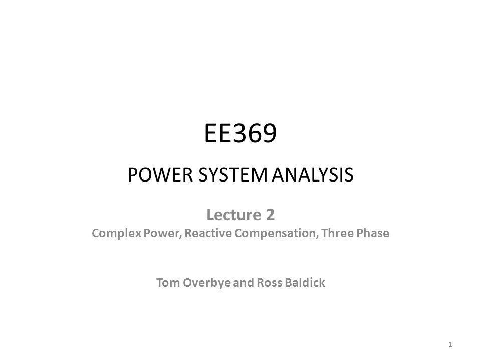 EE369 POWER SYSTEM ANALYSIS