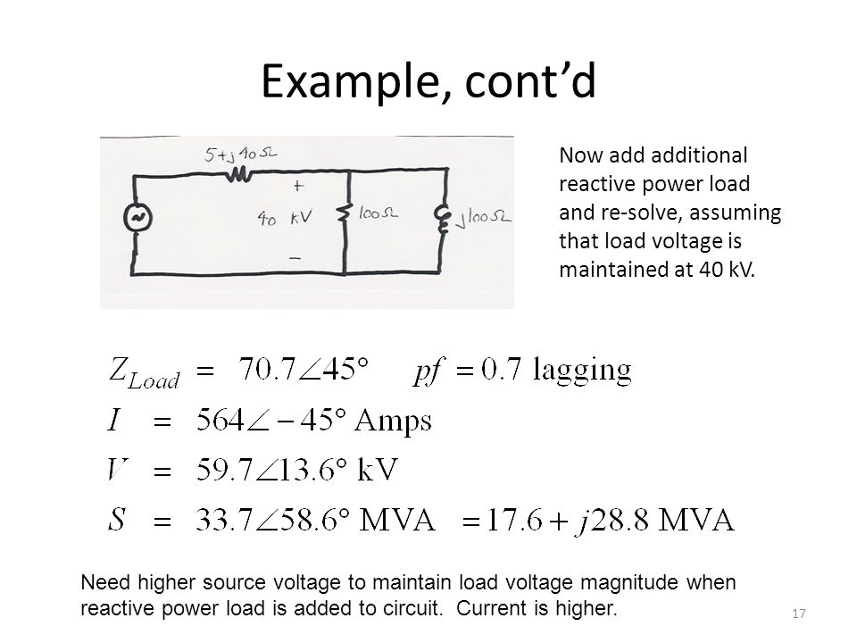 Example, cont'd Now add additional reactive power load