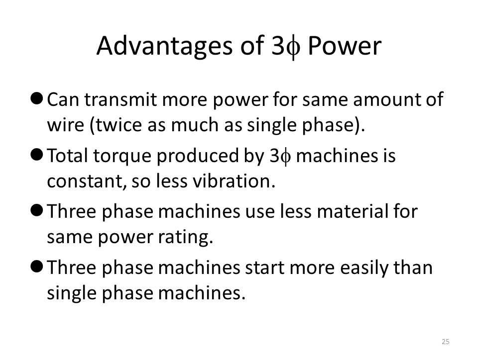 Advantages of 3 Power Can transmit more power for same amount of wire (twice as much as single phase).