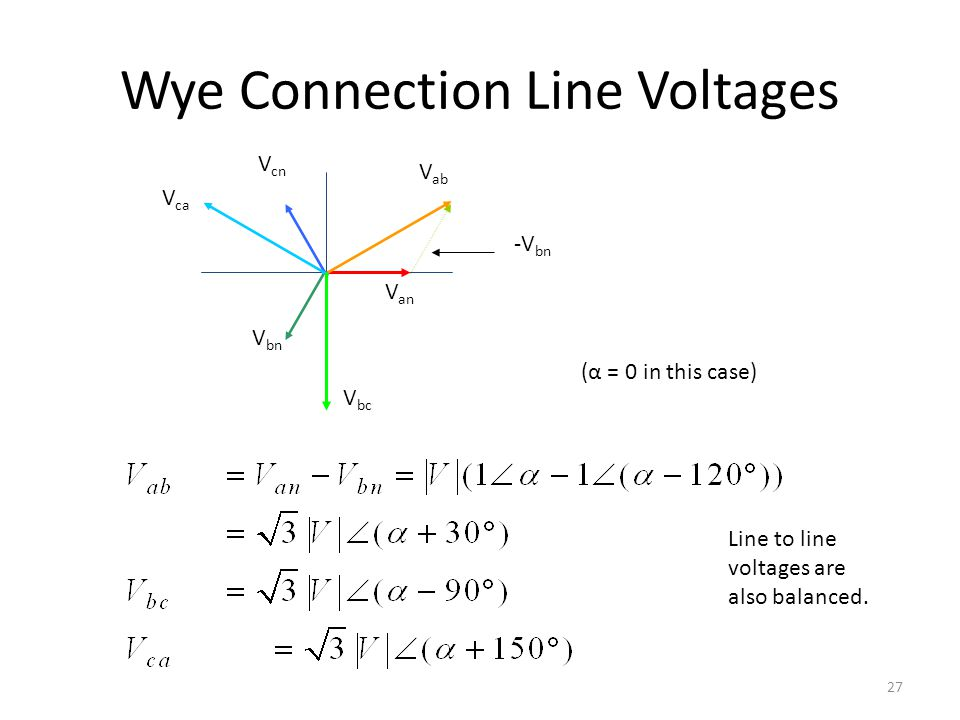 Wye Connection Line Voltages