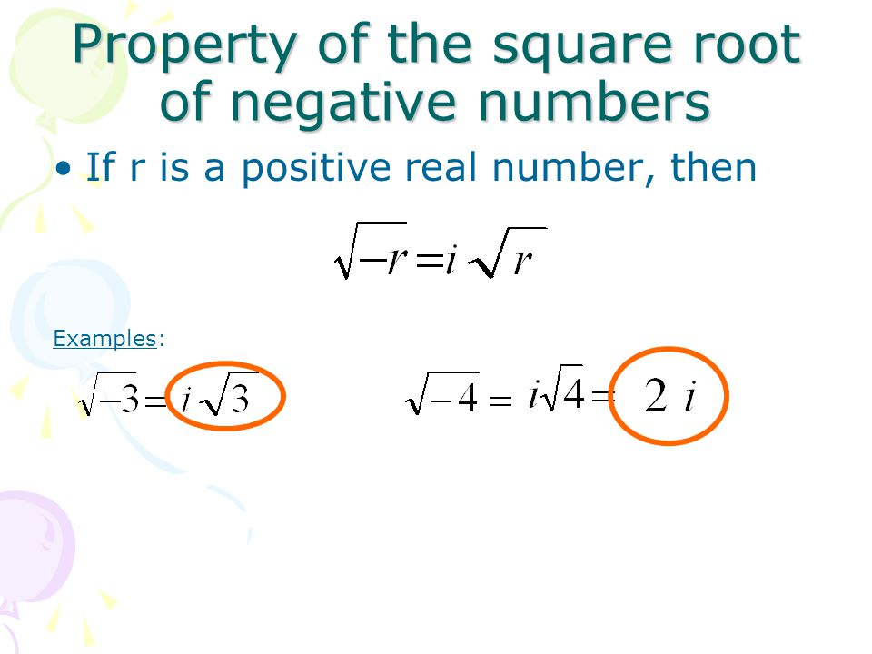 Property of the square root of negative numbers