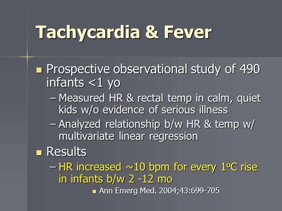 Tachycardia & Fever Prospective observational study of 490 infants <1 yo.