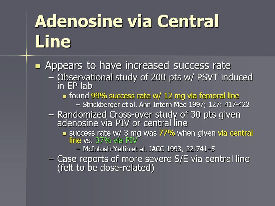 Adenosine via Central Line