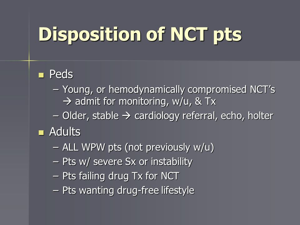 Disposition of NCT pts Peds Adults