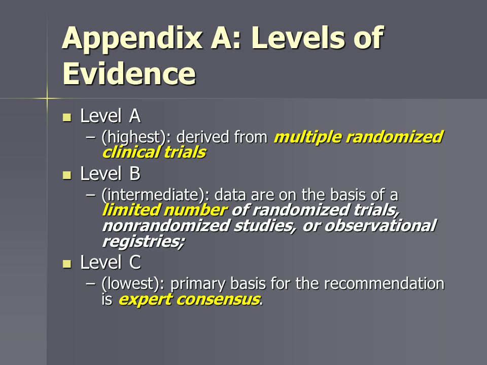 Appendix A: Levels of Evidence