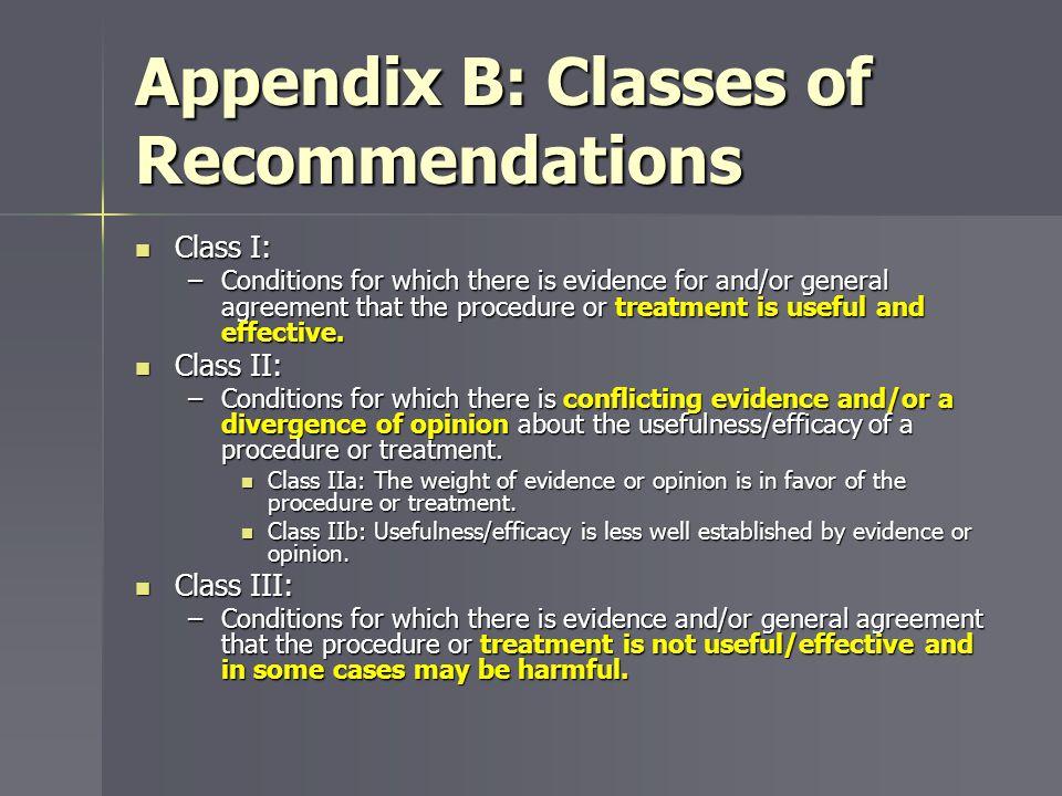 Appendix B: Classes of Recommendations