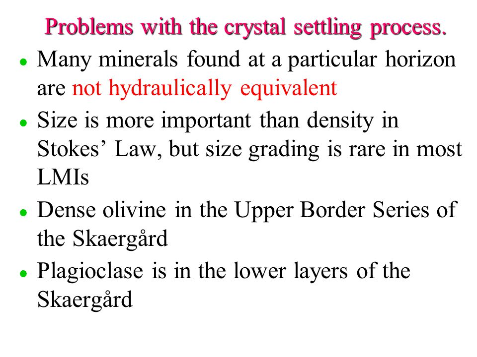 Problems with the crystal settling process.