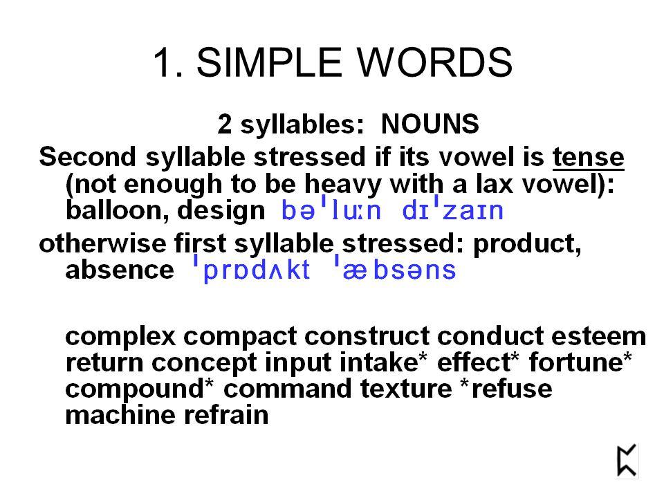 1. SIMPLE WORDS