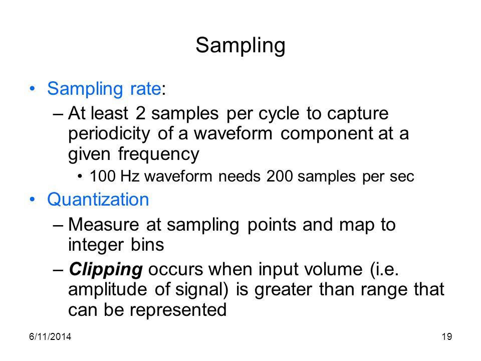 Sampling Sampling rate: