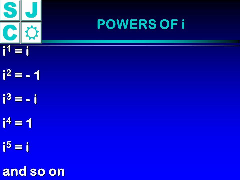 POWERS OF i i1 = i i2 = - 1 i3 = - i i4 = 1 i5 = i and so on