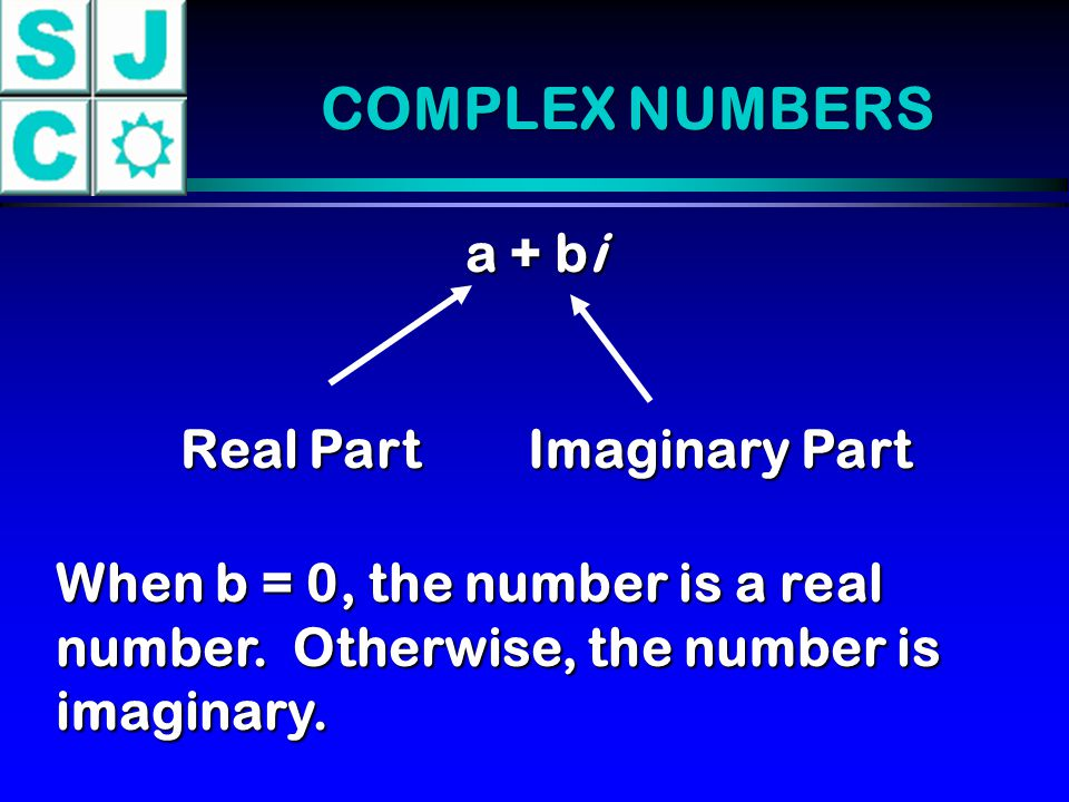 COMPLEX NUMBERS a + bi Real Part Imaginary Part