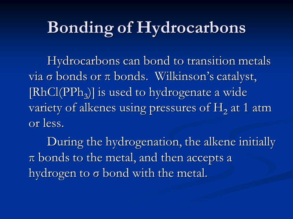 Bonding of Hydrocarbons