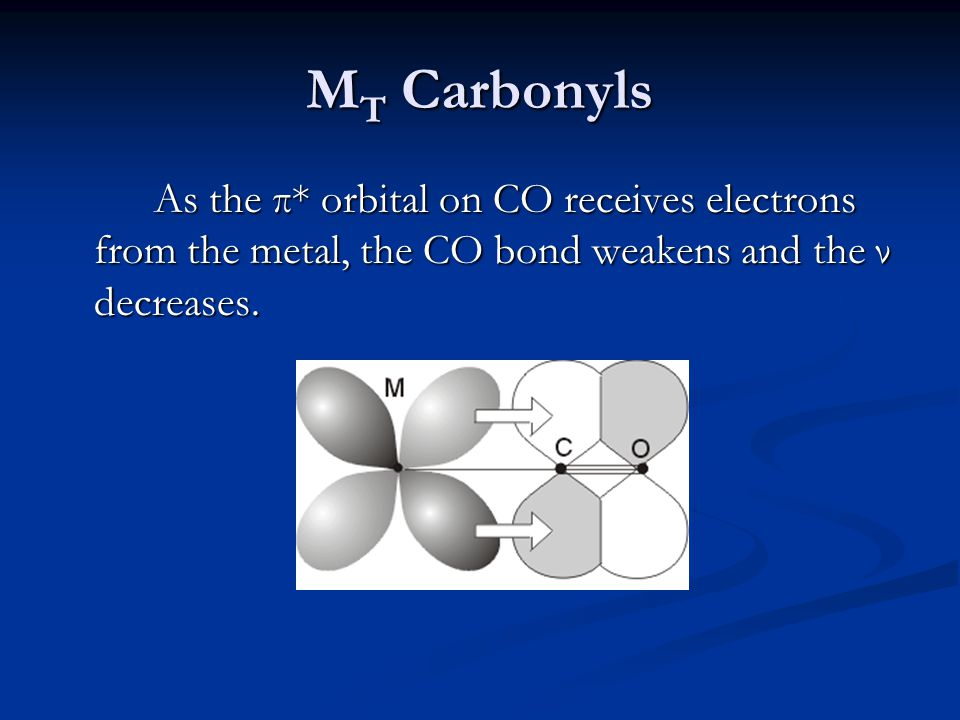 MT Carbonyls As the π* orbital on CO receives electrons from the metal, the CO bond weakens and the ν decreases.