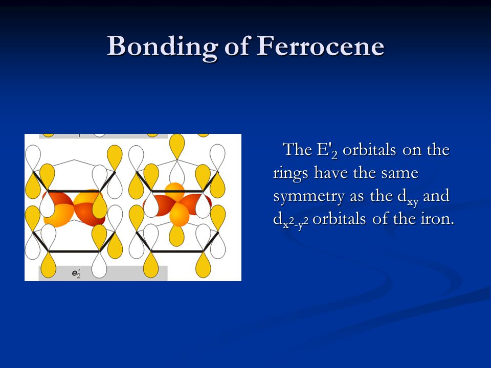 Bonding of Ferrocene The E′2 orbitals on the rings have the same symmetry as the dxy and dx2-y2 orbitals of the iron.