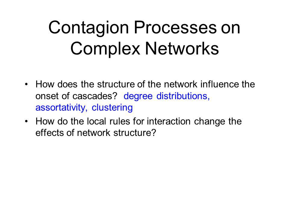 Contagion Processes on Complex Networks