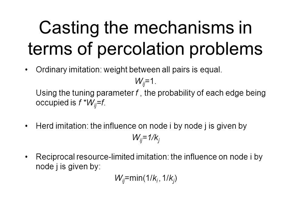 Casting the mechanisms in terms of percolation problems