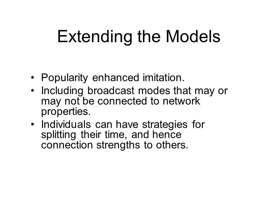 Extending the Models Popularity enhanced imitation.