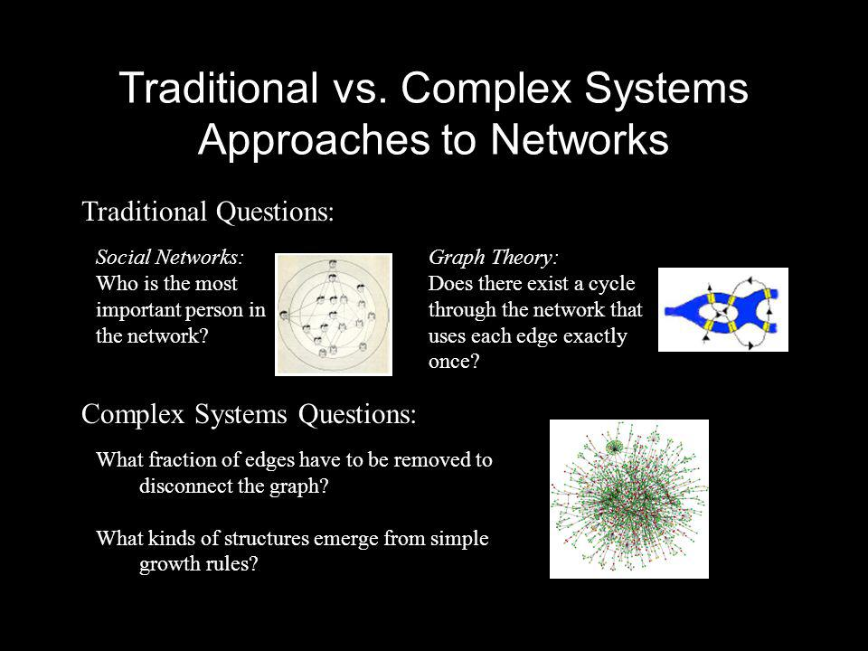 Traditional vs. Complex Systems Approaches to Networks